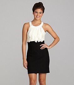 High waist works for me b/c I'm a little shorter in the torso  Teeze Me Ruffle Front Dress #Dillards