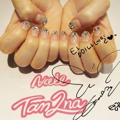 """네일탐이나 on Instagram: """"#태연 #프렌치 스톤네일:) . . #snsd #소녀시대 #태연네일 #gilrsgeneration #gg #nailart #taeyeon #nailtam2na"""""""