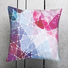 Geometric Galaxy Multicolor Abstract Design Pillow by GargaProject, $34.00