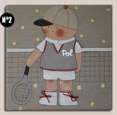 Cuadros infantiles: Niño tenis - Cuadro pintado a mano sobre bastidor de madera de 40 x40 cm, entelado con lino color piedra. Aplicaciones: gorra de tela, cordones en las bambas, botones en niki y gorra.