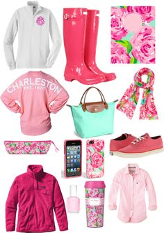 The scarf, rain boots and nail polish are really cute! -A