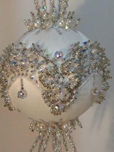 Bridal Veil A Finished Hand Made Beaded Satin Ornament With