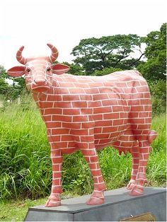 """"""" The Brick Wall """" Cow (with or without Horns) Brick In The Wall, Brick And Wood, Brick And Stone, Architecture Artists, Brick Architecture, Brick Works, Cow Parade, Brick Art, Funny Paintings"""