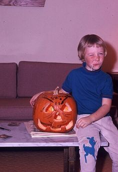 Close to what I looked like as a kid with my Jack-O-Lantern..... Vintage kodachrome halloween via mike on flickr
