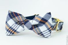 The Battery Navy Blue Plaid Bow Tie Dog Collar – Crew LaLa