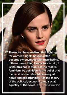 Please stop saying that feminist is hating men. I don't hate men, that's sexist, which is against the point. I belive in EQUAL rights. Emma Watson Frases, Emma Watson Quotes, Emma Watson Feminism, Belive In, Feminism Quotes, Plus Belle Citation, Hate Men, Equal Rights, Women's Rights
