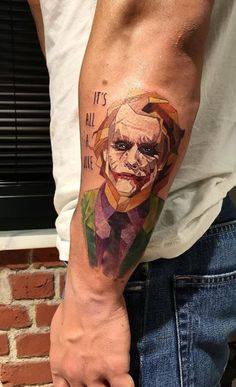 Low Poly The Joker tattoo on the left forearm. Joker Tattoos, Marvel Tattoos, Batman Tattoo, Body Art Tattoos, Sleeve Tattoos, Cool Tattoos, Awesome Tattoos, Le Joker Batman, Joker And Harley