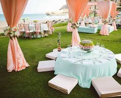 Floor Seating For Outdoor Events Engagement Decorations, Indian Wedding Decorations, Table Centerpieces, Wedding Centerpieces, Centerpiece Ideas, Beach Color Schemes, Colour Schemes, Color Palettes, Mint Decor