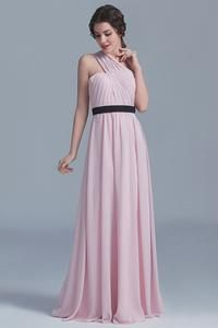 Charming One-Shoulder Floor-Length Pink Chiffon Wedding Guest Dress
