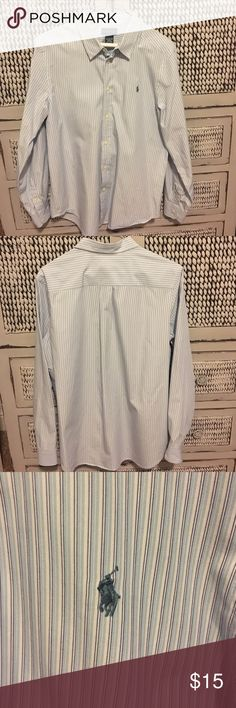 Polo button down dress shirt boys size XL Polo button down dress shirt boys XL.  No stains, fading or holes.  Perfect condition! Polo by Ralph Lauren Shirts & Tops Button Down Shirts