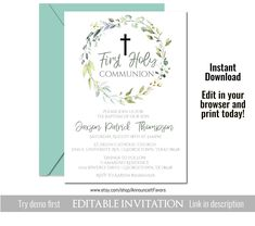 Greenery First Communion Invitation Template, First Communion Invitation Printable, Instant Download, Editable Template, Corjl Printable Invitations, Printables, First Communion Invitations, You Used Me, Candy Bar Wrappers, First Holy Communion, Text Color, Printing Services, Greenery