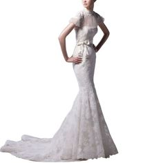 GEORGE BRIDE Mermaid High Collar Short Sleeves Lace Wedding Dress $238.00 #topseller