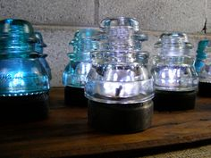 Vintage Glass Insulators with LED Base. $13.00, via Etsy.