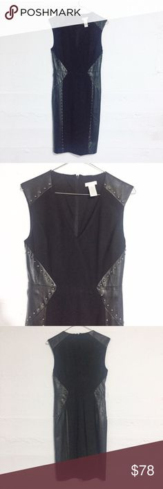 Black studded sexy little black dress Black studded sexy little black dress with vegan leather inlay. Perfect for a night out! Only worn one time- excellent condition and even better quality! I paired this with red stilettos. Open to reasonable offers. No trades. Cache Dresses Midi