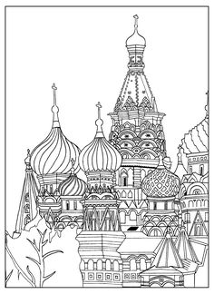 Free adult coloring page of the Saint Basil's Cathedral, in Red Square in Moscow. By Sofian #adultcoloringpage #coloringpage #coloring