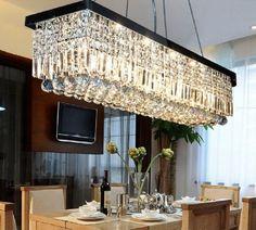 "W40"" Modern Crystal Pendant Light Ceiling Lamp Dining Room Chandelier Lighting #Sofary #Contemporary"