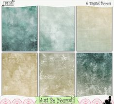 """Instant Download Shabby Distressed Beach Hues by JustBYourself. Shabby distressed layers of teal green and beige are featured on these digitally painted printable art journal papers. Instant download collection of 6 - 8.5"""" x 11"""" papers. (1454) $2.50"""