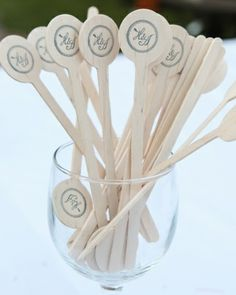Custom monogrammed drink stirrers with the bride and grooms initials.