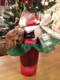 """Need a last minute gift idea for your co-workers? Small Coke, mini bottle of Bacardi and some toasted pecans. On the tag ~ Merry Christmas! It's 5 o'clock somewhere!"""""""