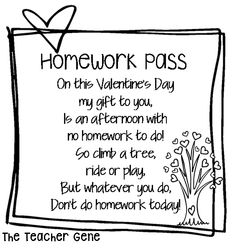 Free Homework Pass for Valentine's Day. Free gift from teacher to student!