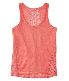 Sheer Pieced Floral Lace Tank from Aeropostale