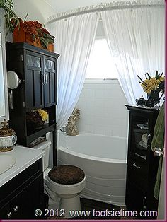 Have these exact storage cabinets, wasn't sure if we'd be able to use both in a small bathroom, but looks good like this. Over Toilet Storage, Bathroom Storage, Small Bathroom, Bathroom Ideas, Bathroom Makeovers, Double Shower Curtain, Bathroom Curtains, Shower Curtains, Sweet Home