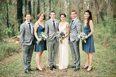 blue BM dresses with grey suits