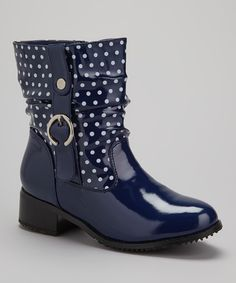 Another great find on #zulily! Navy Polka Dot Drizzle Rain Boot by Beacon Shoe Company #zulilyfinds