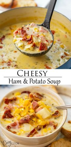 Learn how to make this Cheesy Ham and Potato Soup on the Stove Top, Crock Pot, or the Instant Pot! It's thick and creamy, easy and cheesy! A great recipe idea for leftover ham. potato al horno asadas fritas recetas diet diet plan diet recipes recipes Crock Pot Recipes, Easy Soup Recipes, Great Recipes, Cooking Recipes, Healthy Recipes, Potato Soup Recipes, Best Cheesy Potato Soup Recipe, Potato Recipes For Dinner, Recipes For Ham