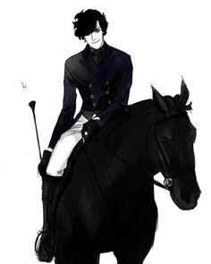 Sherlock... Horses... Young Sherlock on a horse. Oh my, I feel faint. Lucky jorse