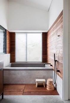 This Japanese inspired bathroom at a home in Orange features a timber slatted floor designed as washing space before bathing. House, Interior, Japanese Bathroom Design, Home, Gorgeous Bathroom Designs, Bathroom Styling, Best Bathroom Designs, Minimal Interior Design, Bathroom Design