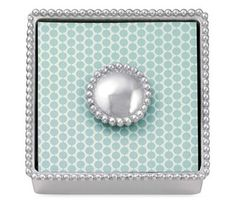Pearled Napkin Box and Weight by Mariposa