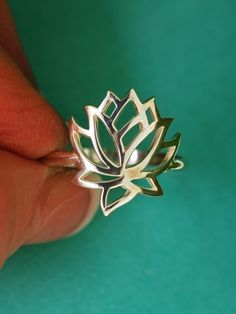 Full Sterling Silver Lotus Flower Ring, Handcrafted Metal Floral Jewelry Gift for Woman