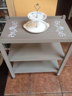 Painted, French Linen, with stencilling in white, Vintage Tea Trolley email thecraftyshamrock@gmail.com