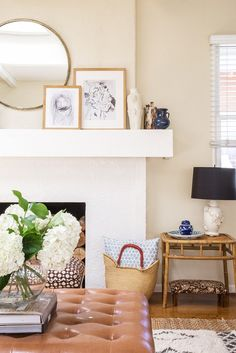 Before and After: A Family's Busy Living Room Becomes a Warm Retreat via @domainehome