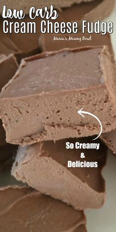 Low Carb Cream Cheese Fudge is delicious and yes it is low carb But that really doesn t matter It s just good Low carb is just a bonus lowcarbrecipes lowcarbsnacks lowcarbdesserts lowcarbdessertrecipes ketosnackrecipes mariasmixingbowl # Low Carb Deserts, Low Carb Sweets, Low Carb Dessert Easy, Keto Cookies, Cheese Cookies, Low Carb Keto, Low Carb Recipes, Low Carb Macros, Low Carb Protein Bars