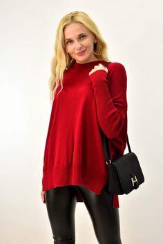 Γυναικεία πλεκτή μπλούζα με μακρύ μανίκι | Γυναικείες Μπλούζες | POTRE Collection