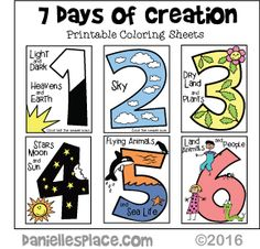 Days of Creation Printable Coloring Sheets