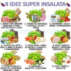"""Ricette Grafiche on Instagram: """"Ciao a tutti! Oggi vi propongo alcune idee per delle insalate da portarci in lunchbox 👩🏼💻 Spero il post vi piaccia e vi sia utile 🖤 • • 🦄…"""" Healthy Juices, Healthy Salads, Healthy Tips, Healthy Eating, Healthy Recipes, Wine Recipes, Food Hacks, Healthy Lifestyle, Vegetarian Recipes"""