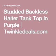 Studded Backless Halter Tank Top In Purple   Twinkledeals.com