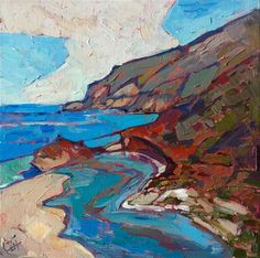 Coastal Curves - Contemporary Impressionism | Landscape Oil Paintings for Sale by Erin Hanson