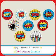 Super Teacher Kiss Stickers