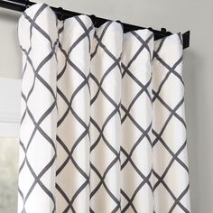 Exclusive Fabrics & Furnishings Pavilion Flocked x Curtain Panel - Gray Faux Silk Curtains, Printed Curtains, Drapes Curtains, Curtains Living, Drapery, Geometric Curtains, Modern Curtains, Birch Lane, Tidy Room