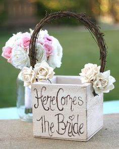 cute idea for the flower girl basket. I saw something like this at my cousins wedding. ADORBALE