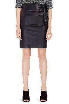 DVF Roxanne Leather Combo Pencil Skirt In Black