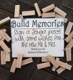 ideas wedding guest book jenga signs Source by ideas for wedding guest Jenga Wedding Guest Book, Jenga Guest Book, Guest Book Sign, Wedding Book, Wedding Signs, Diy Wedding, Rustic Wedding, Guest Books, Dream Wedding