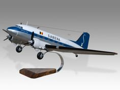 """Douglas DC-3 Skytrain Sabena Desktop Airplane Model.  All I remember when I was a kid was that SABENA was regularly featured on """"Let's Make A Deal"""" (the studio was just down the street from my grade school in Burbank) & that it was an acronym for """"Such A Bloody Experience, Never Again.""""  Still, I'd love to have this superb DC-3 model."""