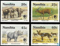 Postage Stamps - Namibia - Endangered animals