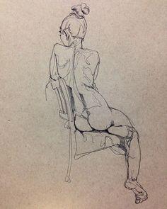 15 minute ballpoint pen life drawing sketch of model, Ren. #lifedrawing #model #artmodel #art #sketch #illustration #sandiego #sandiegoart #sdart #beautiful #girl #figure