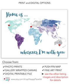 Large world map wall art poster with personalised text or quote large world map poster print or printable with by happyplaceart publicscrutiny Images